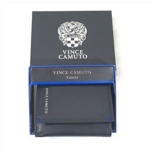 Vince Camuto Black Leather Trifold Wallet